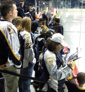 Fans came out in droves to see Colin Wilson's during the pre-game skate.